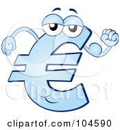 Strong Blue Euro Symbol Character Flexing His Arm Muscles