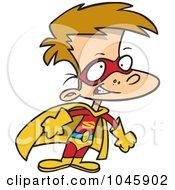 Royalty Free RF Clip Art Illustration Of A Cartoon Super Boy In A Cape