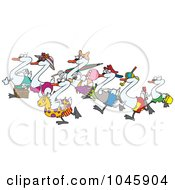 Royalty-Free Rf Clip Art Illustration Of Cartoon Seven Swans Going Swimming