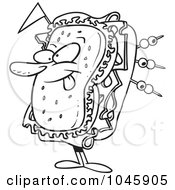 Royalty Free RF Clip Art Illustration Of A Cartoon Black And White Outline Design Of A Sandwich Character