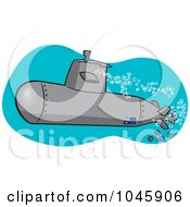Royalty Free RF Clip Art Illustration Of A Cartoon Submerged Submarine by toonaday