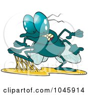Royalty Free RF Clip Art Illustration Of A Cartoon Stuck Fly by toonaday