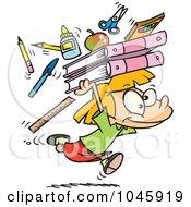 Royalty Free RF Clip Art Illustration Of A Cartoon School Girl Running With Supplies