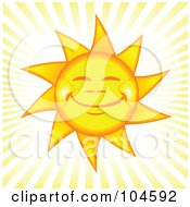 Royalty Free RF Clipart Illustration Of A Grinning Happy Afternoon Sun With Rays Of Light