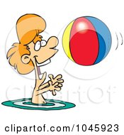 Royalty Free RF Clip Art Illustration Of A Cartoon Boy Playing With A Beach Ball In The Water