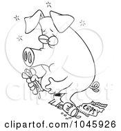 Royalty Free RF Clip Art Illustration Of A Cartoon Black And White Outline Design Of A Stuffed Pig Eating Junk Food by toonaday