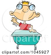 Royalty-Free (RF) Clip Art Illustration of a Cartoon Geeky School Boy Raising His Hand by toonaday