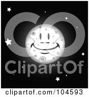 Royalty Free RF Clipart Illustration Of A Grinning Full Moon In A Black Sky With Stars