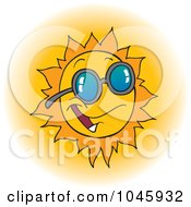 Royalty Free RF Clip Art Illustration Of A Cartoon Happy Sun Wearing Shades