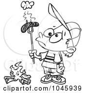 Royalty Free RF Clip Art Illustration Of A Cartoon Black And White Outline Design Of A Boy Holding A Burnt Weenie Over A Fire by toonaday