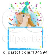 Royalty Free RF Clipart Illustration Of An Adorable Hedgehog Wearing A Party Hat And Looking Over A Blank Sign With Colorful Confetti
