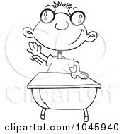 Royalty Free RF Clip Art Illustration Of A Cartoon Black And White Outline Design Of A Geeky School Boy Raising His Hand by toonaday