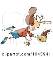 Royalty Free RF Clip Art Illustration Of A Cartoon Stumbling Businesswoman Spilling Coffee