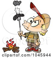 Royalty Free RF Clip Art Illustration Of A Cartoon Boy Holding A Burnt Weenie Over A Fire by toonaday