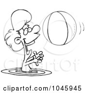 Royalty Free RF Clip Art Illustration Of A Cartoon Black And White Outline Design Of A Boy Playing With A Beach Ball In The Water
