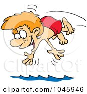 Royalty Free RF Clip Art Illustration Of A Cartoon Diving Boy