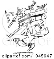 Royalty Free RF Clip Art Illustration Of A Cartoon Black And White Outline Design Of A School Girl Running With Supplies