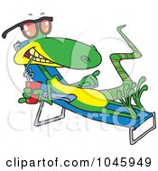 Royalty Free RF Clip Art Illustration Of A Cartoon Sun Bathing Lizard by toonaday