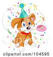 Birthday Beagle Puppy With A Lolipop In His Mouth Wearing A Party Hat Surrounded By Confetti