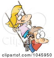 Royalty Free RF Clip Art Illustration Of A Cartoon Girl And Boy Swinging by toonaday