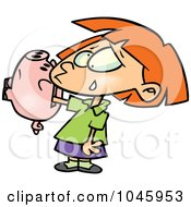 Royalty Free RF Clip Art Illustration Of A Cartoon Girl With Her Hand Stuck In A Piggy Bank by toonaday