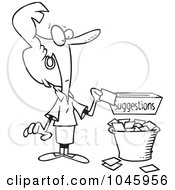 Royalty Free RF Clip Art Illustration Of A Cartoon Black And White Outline Design Of A Businesswoman Putting A Complaint In A Suggestion Box
