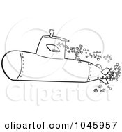 Royalty Free RF Clip Art Illustration Of A Cartoon Black And White Outline Design Of A Submerged Submarine by toonaday