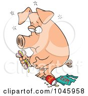 Royalty Free RF Clip Art Illustration Of A Cartoon Stuffed Pig Eating Junk Food by toonaday