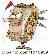 Royalty Free RF Clip Art Illustration Of A Cartoon Sandwich Character