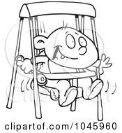 Royalty Free RF Clip Art Illustration Of A Cartoon Black And White Outline Design Of A Happy Baby Boy In A Swing