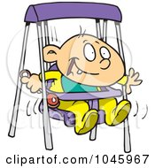 Royalty Free RF Clip Art Illustration Of A Cartoon Happy Baby Boy In A Swing
