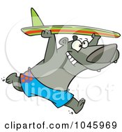 Royalty Free RF Clip Art Illustration Of A Cartoon Surfer Bear by toonaday