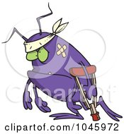 Royalty Free RF Clip Art Illustration Of A Cartoon Survivor Bug Using A Crutch
