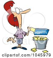 Royalty Free RF Clip Art Illustration Of A Cartoon Businesswoman Putting A Complaint In A Suggestion Box