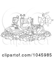 Royalty Free RF Clip Art Illustration Of A Cartoon Black And White Outline Design Of A Businessman Shoveling Through His Office Clutter