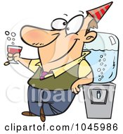 Royalty Free RF Clip Art Illustration Of A Cartoon Businessman Cheering By The Cooler by toonaday