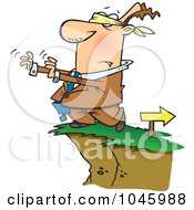 Cartoon Blindfolded Businessman Walking Towards A Cliff