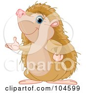 Royalty Free RF Clipart Illustration Of A Cute Hedgehog Standing Up On His Hind Legs And Presenting With One Hand by Pushkin