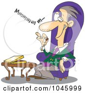 Royalty Free RF Clip Art Illustration Of A Cartoon Wealthy Man Eating Chocolates by toonaday