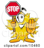 Clipart Picture Of A Sun Mascot Cartoon Character Holding A Stop Sign by Toons4Biz
