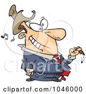 Royalty Free RF Clip Art Illustration Of A Cartoon Businessman Smoking A Cigar And Listening To Music