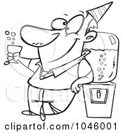 Royalty Free RF Clip Art Illustration Of A Cartoon Black And White Outline Design Of A Businessman Cheering By The Cooler
