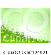 Royalty Free RF Clipart Illustration Of A Background Of Wild Flowers Grass And Butterflies Against A Green Sky