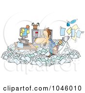 Royalty Free RF Clip Art Illustration Of A Cartoon Businessman Shoveling Through His Office Clutter