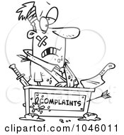 Royalty Free RF Clip Art Illustration Of A Cartoon Black And White Outline Design Of A Beat Up Businessman At A Complaints Desk