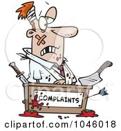 Royalty Free RF Clip Art Illustration Of A Cartoon Beat Up Businessman At A Complaints Desk