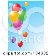 Royalty Free RF Clipart Illustration Of Colorful Party Balloons Floating Over A Clear Gradient Blue Sky