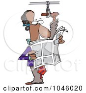 Cartoon Commuting Black Businessman With His Foot Up In A Handle