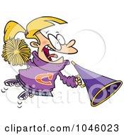 Cartoon Cheerleader Girl With A Cone