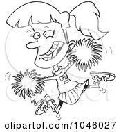 Royalty Free RF Clip Art Illustration Of A Cartoon Black And White Outline Design Of A Cheerleader Girl